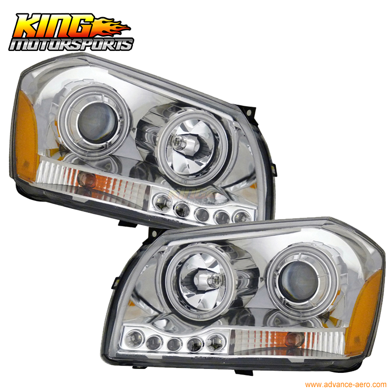 For 2005-2008 Dodge Magnum CCFL Halo Projector Headlights Chrome USA Domestic Free Shipping for 2004 2008 ford f150 chrome vertical front hood grill grille usa domestic free shipping hot selling