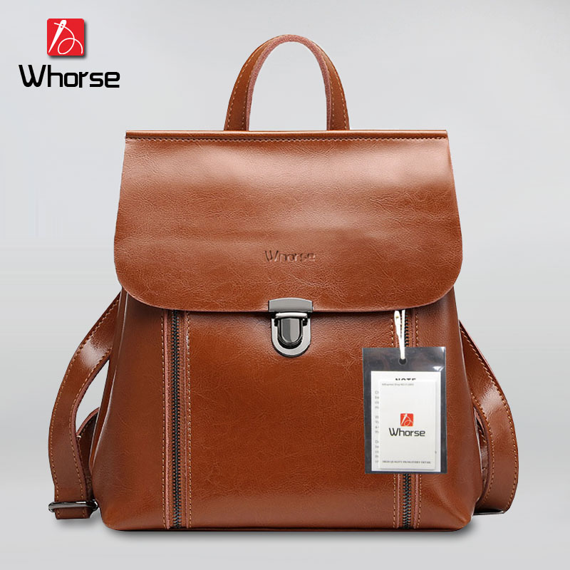 [WHORSE] Brand Vintage backpack Women Genuine Leather Woman Backpack High Quality School Bags for Teenagers Girls Backpacks