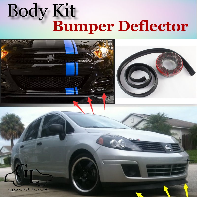 Bumper Lip Deflector Lips For Nissan Tiida Versa  For Dodge Trazo Front Spoiler Skirt For TopGear Friends tuning / Body Kit Wing car window curtains legal