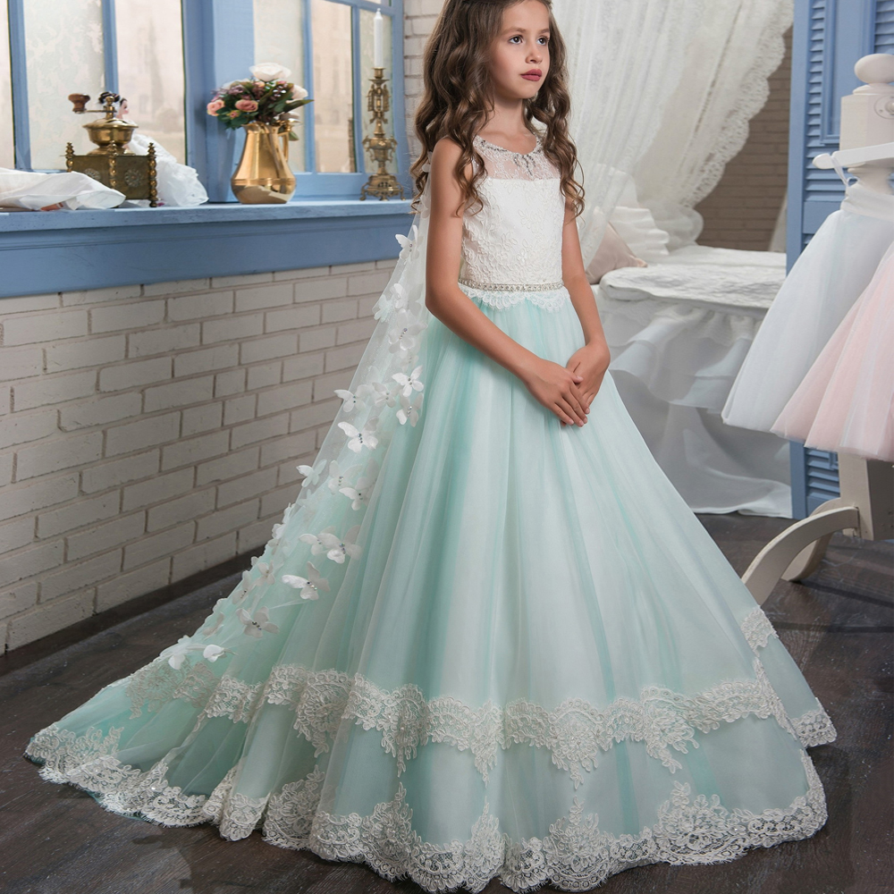 Fancy Butterfly Pageant Dress for Girls Long Flower Girls Dress Wedding First Communion Dress Kids Tulle Ball Gown with Train plus size butterfly print ball gown dress