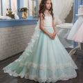 Fancy Pageant Dress Lace Satin Zipper Flower Girls Dress Wedding Kids Communion Mint Green Tulle Ball Gown with Train 0-14 Year