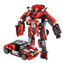 372pcs Transform Series Optimus Prime Transformation Robot Car Truck Building Blocks Model Toys For Children