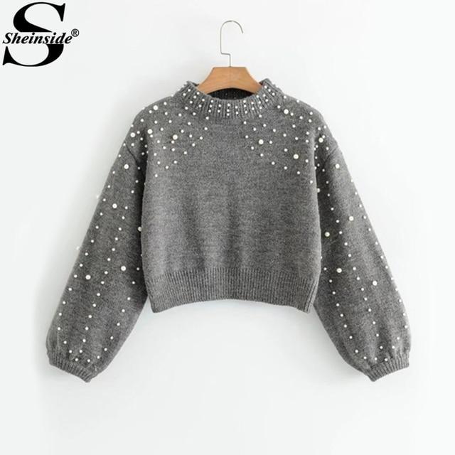 6bb2c24561 Sheinside Lantern Sleeve Faux Pearl Beading Crop Sweater Fashion Grey Crew  Neck Long Sleeve Loose Winter Pullovers Sweater