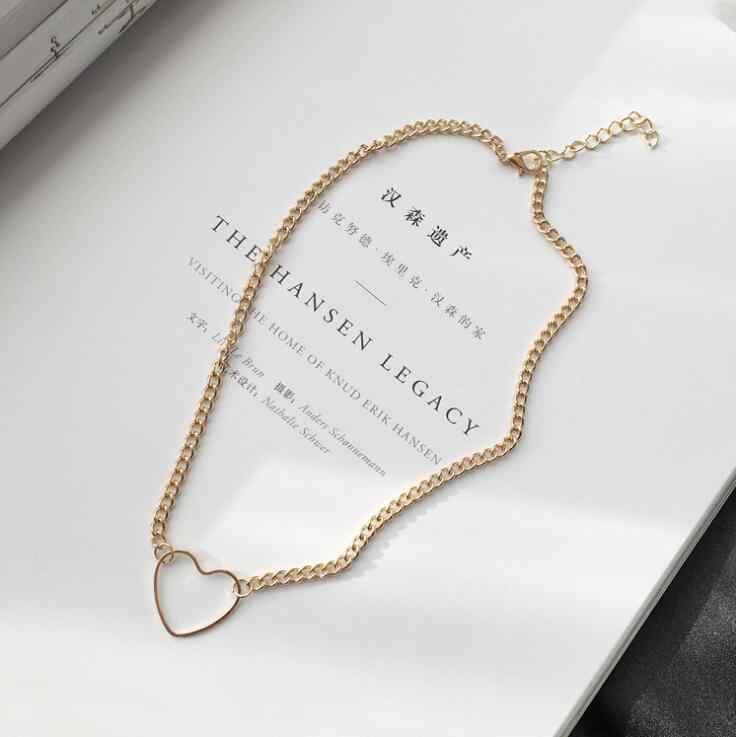 ผู้หญิงสำหรับสร้อยคอแฟชั่นเครื่องประดับสาวแนวโน้มของขวัญ Clasp จี้ Gold Silver Geometric Heart Chain