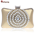 New Women Banquet Handbag Exquisite Pearl Diamond Stitching Evening Bag Wedding Party Bridal Clutch Purse Chain Shoulder Bag
