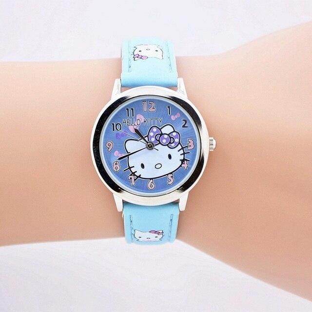 Trasporto libero del fumetto di modo orologio al quarzo Wristatch abbigliamento casual ciao kitty strass orologio donna ragazze bambini di alta qualità