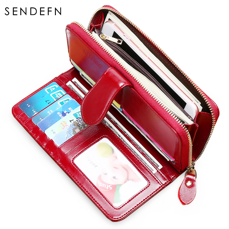Sendefn RFID Antitheft Leather Wallet Women Hasp With Zipper Leisure Purse Large Capacity Purse Lady Quality Wallet 8002-68