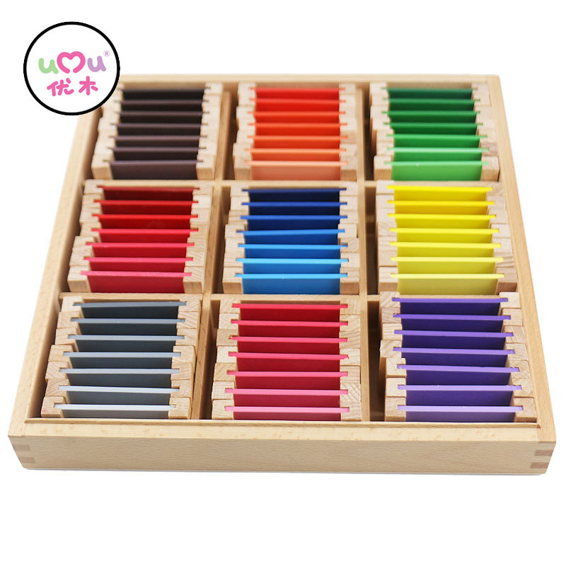 Montessori Educational Wooden Toys Montessori Materials Sensorial 27 Colors Recognition Wooden Toys For Children UB0666H 50pcs hot sale wooden intelligence stick education wooden toys building blocks montessori mathematical gift baby toys