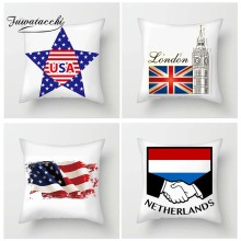 Fuwatacchi  National Flag Cushion Cover American France England Flags Throw Pillow Case For Home Sofa Decor National Pillowcases countries national flag pattern linen throw cushion cover for home car office