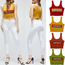 цена на Women Letter Print Tank Tops Vest Sexy Sleeveless Crop Top Shirt Cami Top