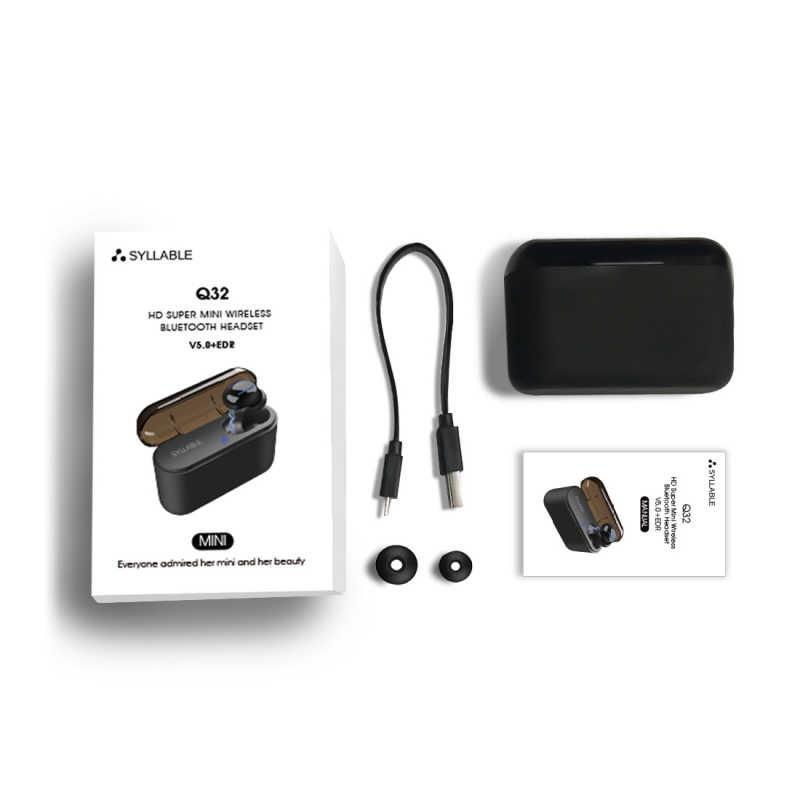 Nowy sylaba Q32 4 godzin Bluetooth V5.0 słuchawki 1200 mah ładowarka case słuchawki wbudowany mikrofon zestawu słuchawkowego i funkcja banku mocy
