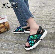 2b71b88ef XCZJ Novas sandálias flat mulheres moda casual sapatos de plataforma fundo  Grosso mulheres Roma sandálias sapatos versão Coreana.