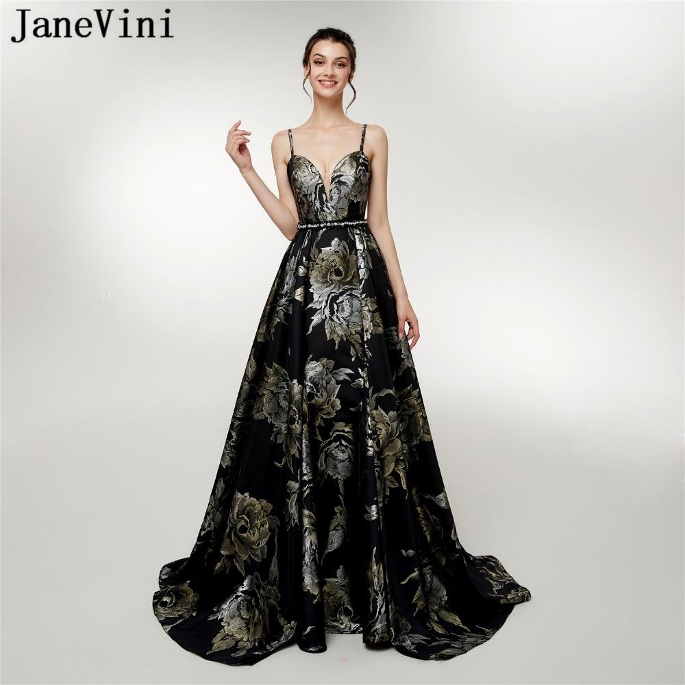JaneVini 2018 Vintage A Line Floral Print Beaded Long Prom   Dresses   Spaghetti Straps Backless Satin   Bridesmaid     Dress   Floor Length