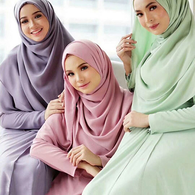 Multicolor Soft Chiffon Muslim Headscarf Female Shawl Wrap Malaysia Hijab Foulard Islam Inner Turban Ready To Wear Under Scarf