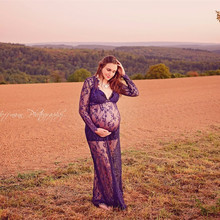 Maternity Photography Props Gown Maxi Lace Maternity Gown Pregnant Fancy Photo Shooting See Through Long Pregnant Women Dresses