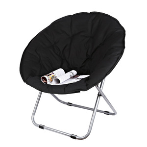 Image 1 - Large Size Moon Folding Chair Portable Couch Lazy Chair for Adult Soft Oxford Cloth Cushion Seat Office Chair Strong Bearing