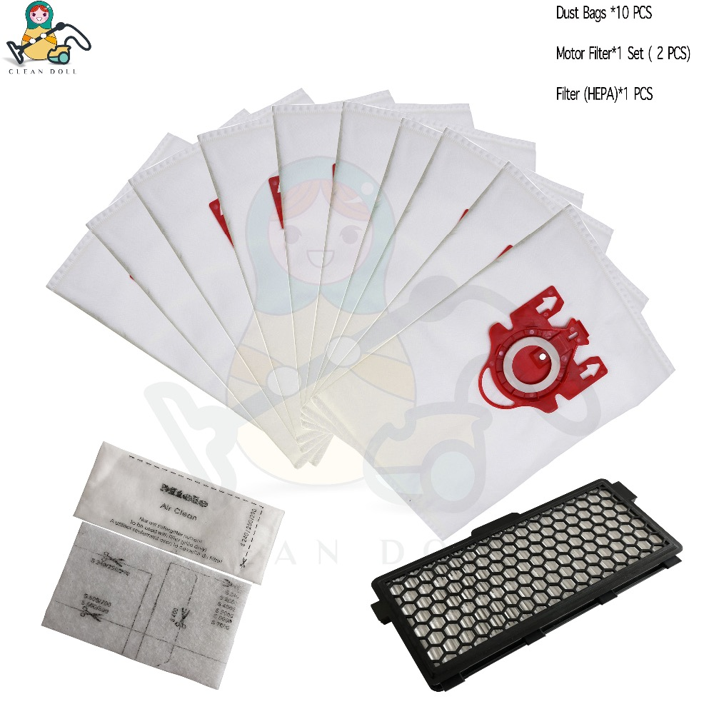 CLEAN DOLL 13-PACK dust bags & Filter HEPA SF-50 for Miele 3D FJM 9917730 Complete C1 S4000 S6000 S4 S6 bags parts цена