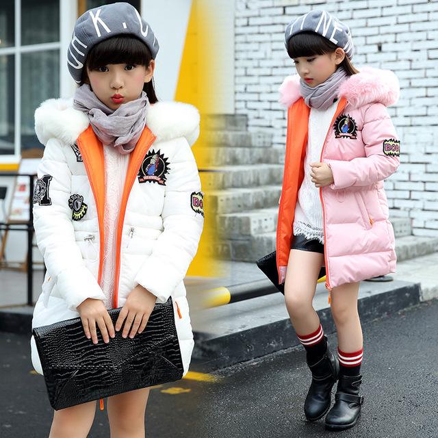 2016 de Inverno das crianças coreanas de algodão-acolchoado crianças jaqueta casaco de calor confortável