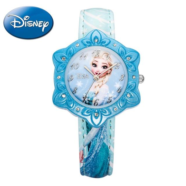 Disney Frozen Elsa princess girls simple wristwatch Kid best rhinestone pink blue watches Children cartoon quartz watch 54155