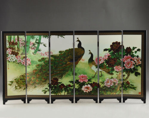 TNUKK Details Old about Superb Beautiful Oriental Lacquer Handwork Painting peafowl fold screen.