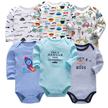 100%Cotton Baby Bodysuits Unisex Infant Jumpsuit Fashion Baby Boys Girls Clothes Long Sleeve Newborn Baby Clothing Set 5PCS/LOT цена 2017