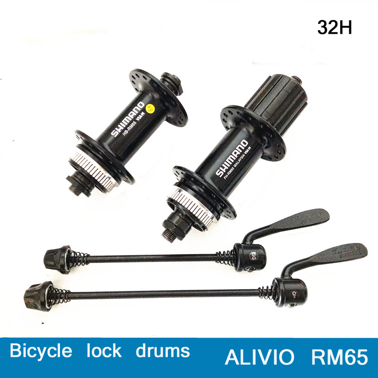 SHIMANO RM65 32-hole quick release bike hub aluminum alloy front and rear bicycle parts black bicycle disc brake bearing chosen aluminum mountain bike hubs set wheel hub front and rear skewers quick releas disc brake hub 4 bearings 90 ring 32 hole