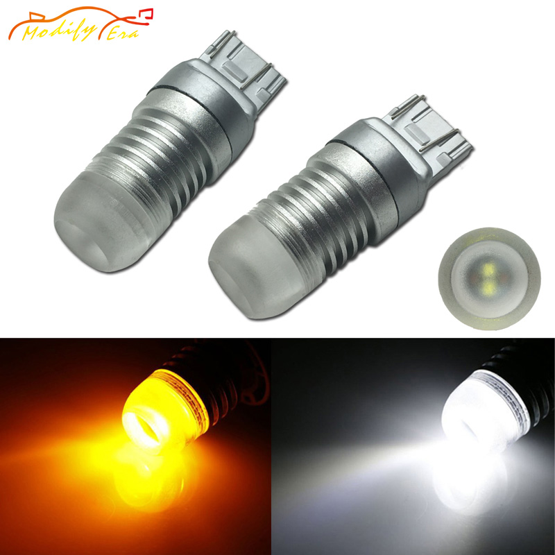 Modify.Era 2pcs 7443 7444NA T20 Car LED Bulb Cree Chips For DRL Turn Signal Lights Dual-Color Switchback 20W Cars Running Lights