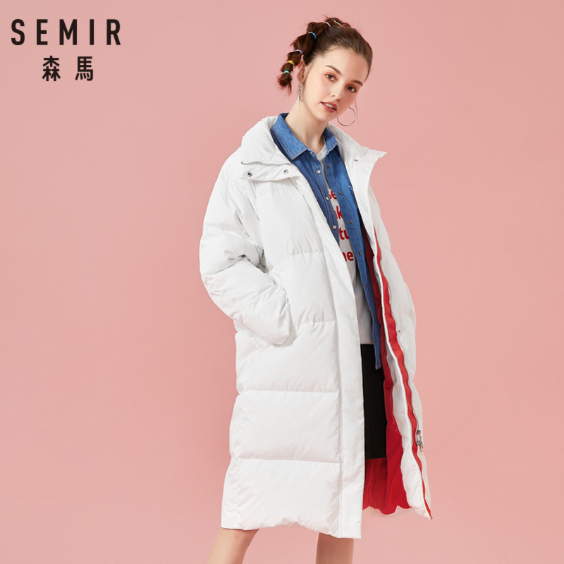 SEMIR Women Quilted Long   Down   Stand-up Collar   Coat   with Slant Pocket Zip&Snap Closure   Down   Filling Puffer   Coat   Polyester Lined