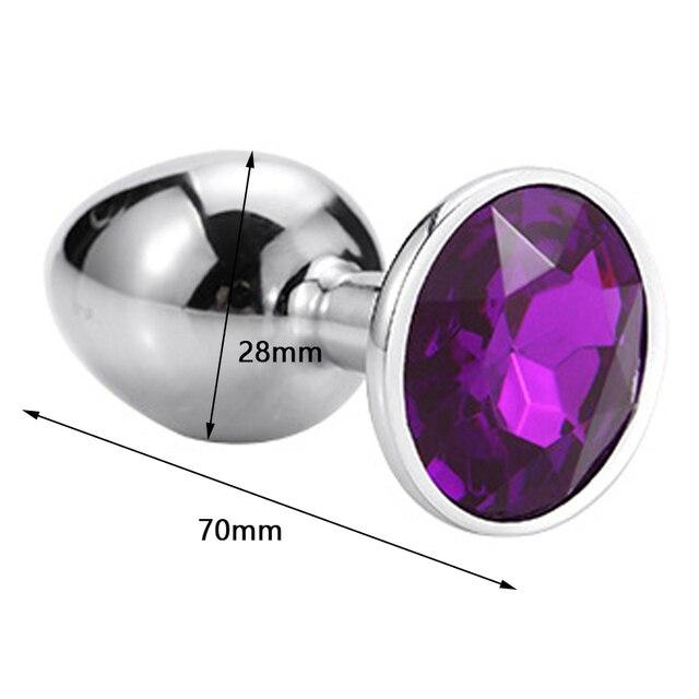 Runyu Intimate Metal Anal Plug With Crystal Jewelry Smooth Butt Plug Anal Bead Anus Dilator Anal Toys for Men/Women 2