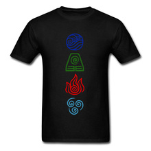 Avatar Four Elements Symbol Print Tshirt The Last Airbender 100% Cotton Summer/Autumn Men Tops Shirts Tshirts Discount O Neck
