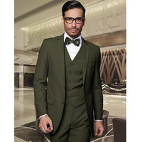 Army Green Groom Tuxedos Handsome Groomsmen Suits Men's Prom Cothing Business Suits Best Wedding Suit (Jacket+Pants+Vest)