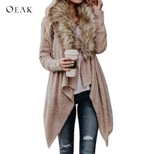 OEAK 2018 Women Faux Fur Collar Long Cardigans Autumn Winter Fashion Long  Sleeve Knitted Sweater Cardigans 1bc202863