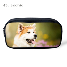 ELVISWORDS Kawaii Animal Kids Pencil Case Flower Shiba Inu Dogs Students Stationery Box School Pen Bags Cute Womens Beautician