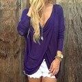 Женщины Блузки 2016 Мода Осень Топы Sexy V Шеи Длинным Рукавом Асимметричная Хем Рубашки Случайные Раза Blusas Плюс Размер S-XL
