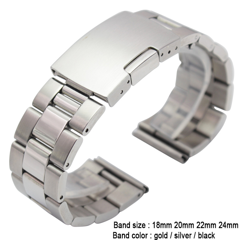 18 20 22 24mm Solid Stainless Steel Watch Band Metal Bracelet Straight End Gold Silver Black Wrist Watches Replacement Watchband top quality new stainless steel strap 18mm 13mm flat straight end metal bracelet watch band silver gold watchband for brand