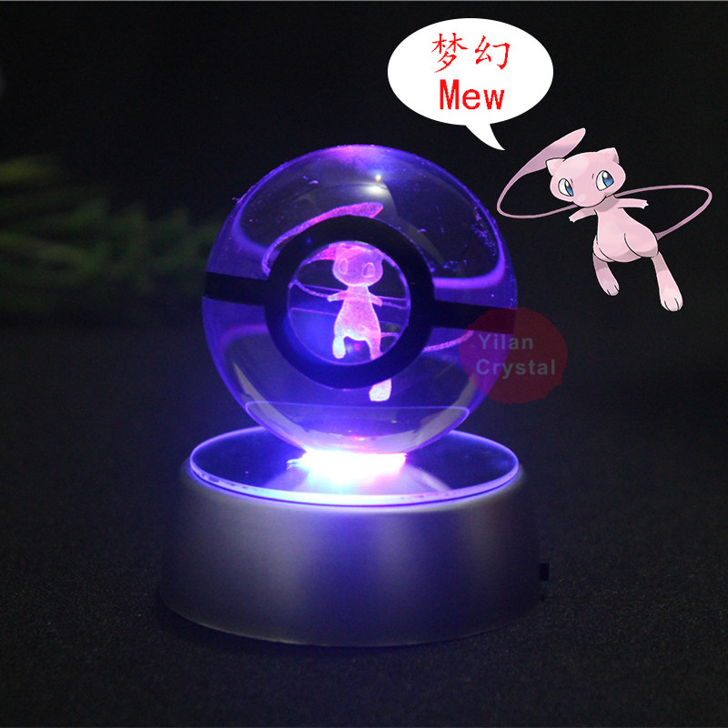 Mew Pokemon Engraving Round Crystal With Black Line Nice Fashion 50mm 80mm Ball Keychain With LED Base