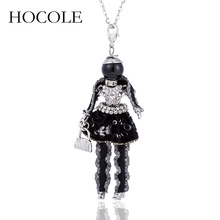 HOCOLE 2018 New Handmade Doll Necklace Lovely Long Chain Black Dress Rhinestone Pendant Women Girl Kids Jewelry gift