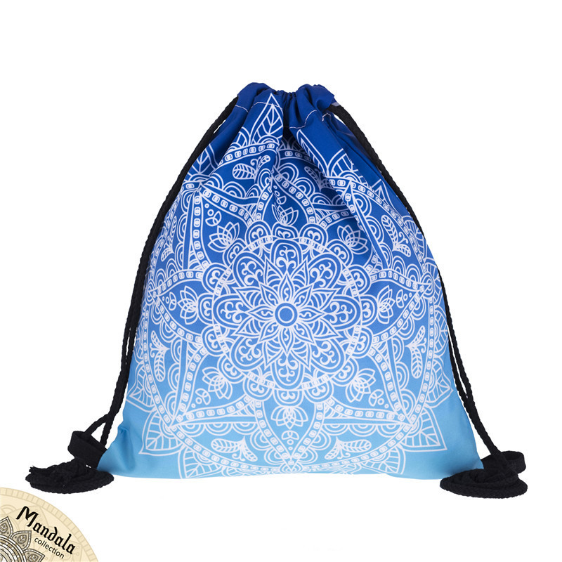New 3D Printed Mandala Pattern Drawstring Bag Shopping Storage Drawstring Bag