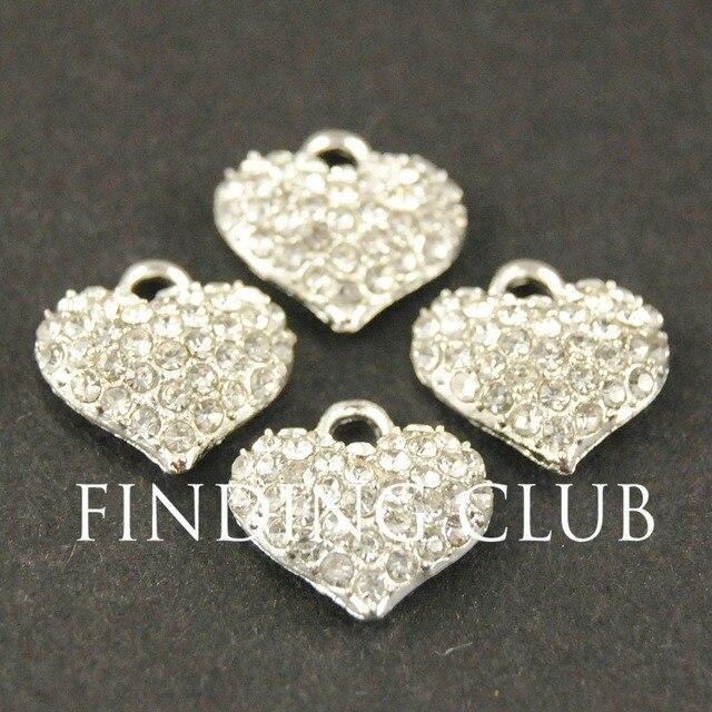 20pcs Silver gold tone Crystal Rhinestones Heart Charm Pendant DIY Metal Bracele