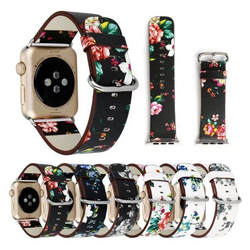 Премиум кожаный браслет для Apple Watch ремень 38 мм 42 мм британский сельский Стиль цветок bnad Замена для iwatch все модели