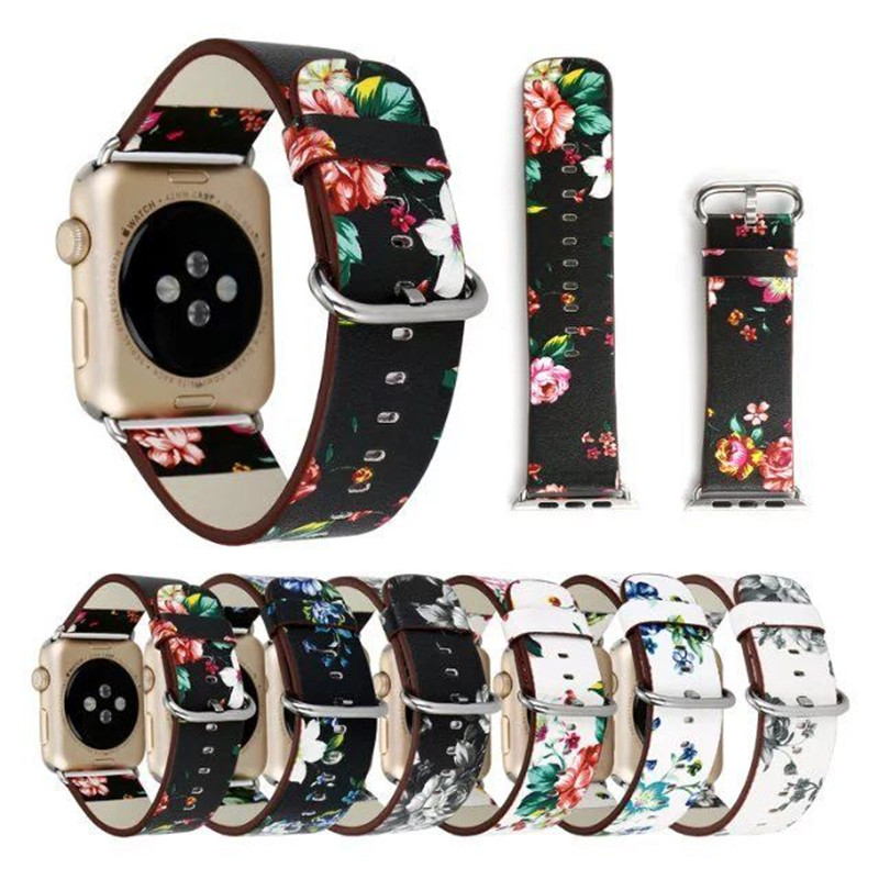 Premium Leather WristBand For Apple Watch Strap 38mm 42mm British Rural Style Flower Bnad Replacement For iWatch All Models scallop waist ruffle hem crop pants