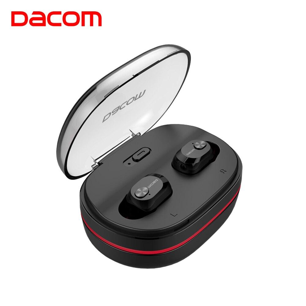 DACOM Mini TWS Verdadeiro Fone de Ouvido Intra-auriculares Fones de Ouvido Estéreo Sem Fio Bluetooth Fones De Ouvido com Microfone w/Doca de Carregamento para o Telefone Do iPhone xiaomi