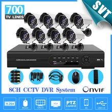 home 8ch CCTV System 8 channel DVR Kit 700TVL IR waterproof Outdoor Camera 8ch CCTV video DVR Recorder Security Camera System