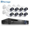 Techage full hd 8ch nvr 1080 p poe kit 8 unids 2.0mp exterior impermeable DEL IR Cámara IP P2P Seguridad CCTV Sistema de Vigilancia de Vídeo Juego