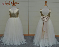 Sexy ivory Flower Girls Dresses Sparkly Gold Sequins Kids Long Formal Wedding Party Gowns Sleeveless Open Back with Bow sash