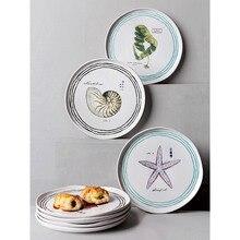 8,5 дюймов морская керамическая обеденная тарелка для домашнего использования контейнер для еды круглая морская звезда коралл с принтом десерты и тарелки волнистый край