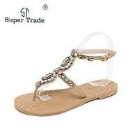 New Sweet Shoes Bohemian Women Sandals Crystal Flat Heel Sandalias Rhinestone Chain Women Shoes Thong Flip