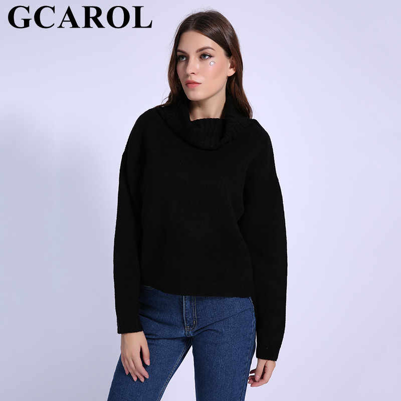 GCAROL Fall Winter Women Turtleneck Sweater 20% Wool High Quality Oversized Knit Jumper Soft Hand Pullover In 3 Colors