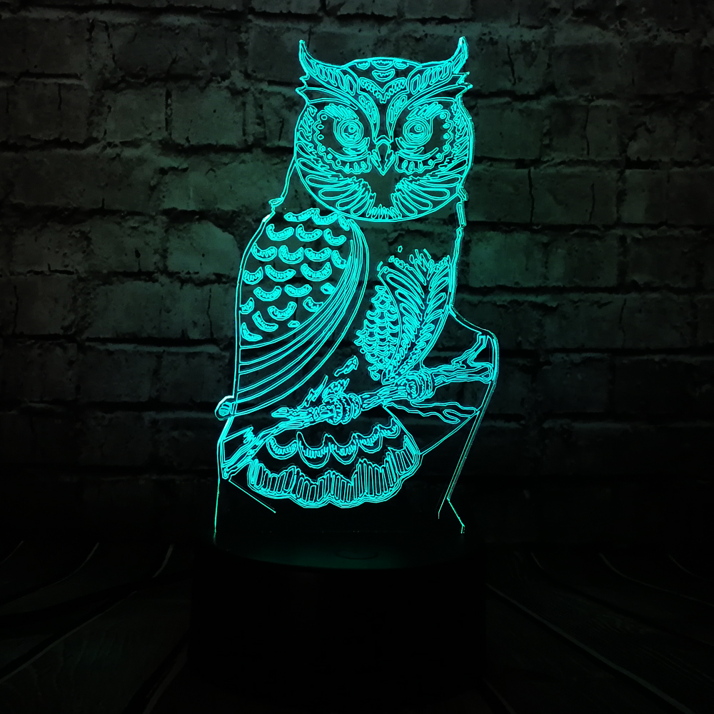 New Novelty Animal 3D Lamp Night Owl USB LED Lighting Mulitcolor Change Christmas Kids Toy Decorative luminaria Children Table swatch children s table children s day presents owl zfbnp063