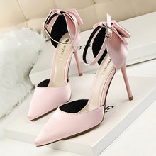 Новые модные женские туфли на высоком каблуке с узлом бабочкой;